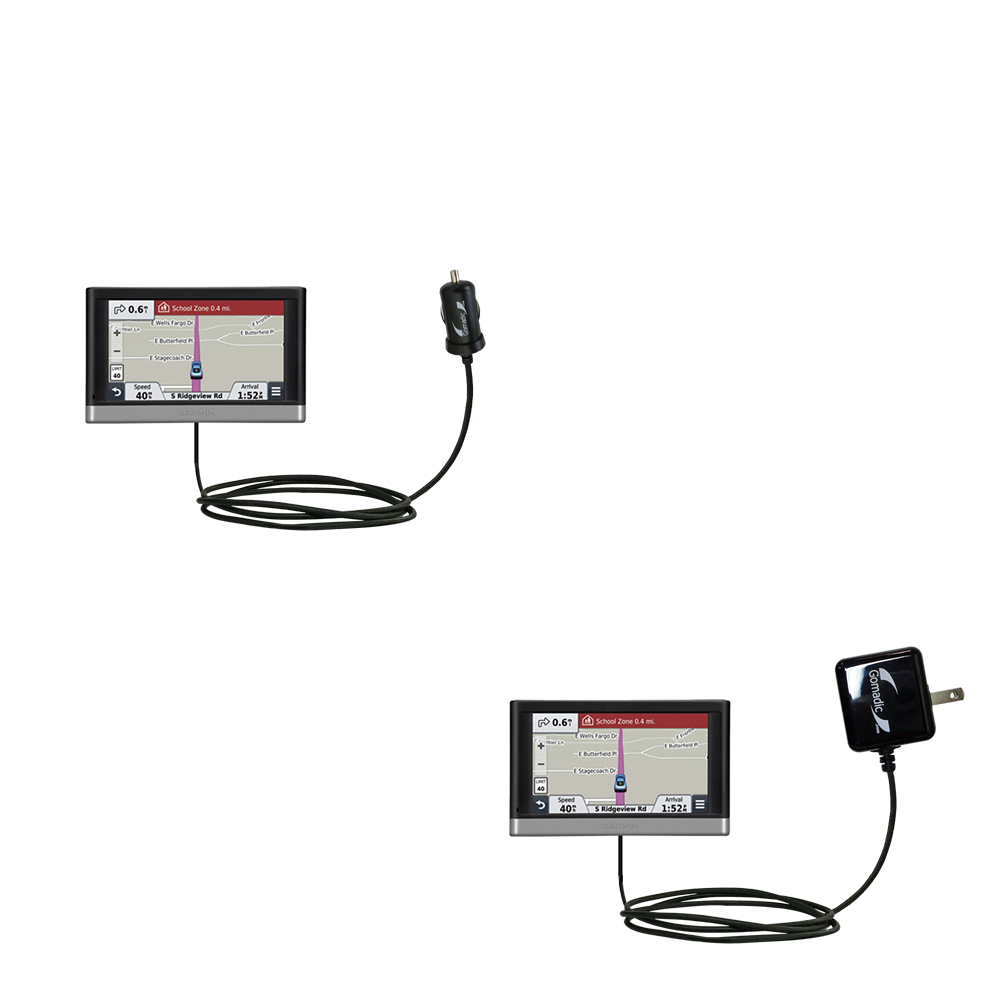 Car & Home Charger Kit compatible with the Garmin nuvi 2457 / 2497 LMT