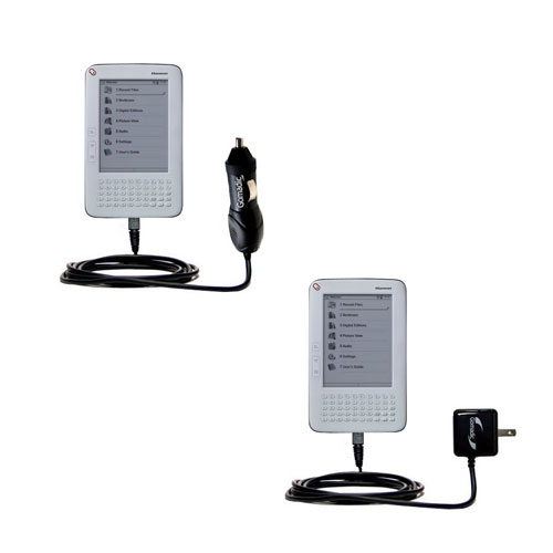 Gomadic Car and Wall Charger Essential Kit suitable for the Hanvon WISEreader B630 - Includes both AC Wall and DC Car Charging Options with TipExchange