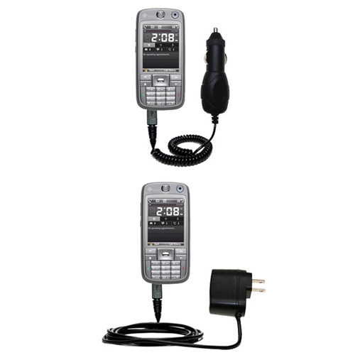 Gomadic Car and Wall Charger Essential Kit suitable for the HTC S730 - Includes both AC Wall and DC Car Charging Options with TipExchange