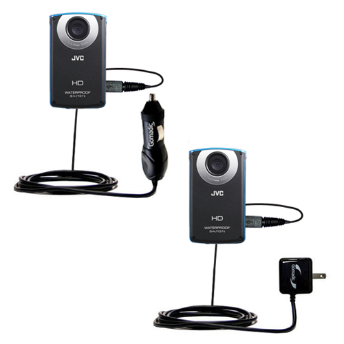 Car & Home Charger Kit compatible with the JVC GC-WP10 Waterproof Camera