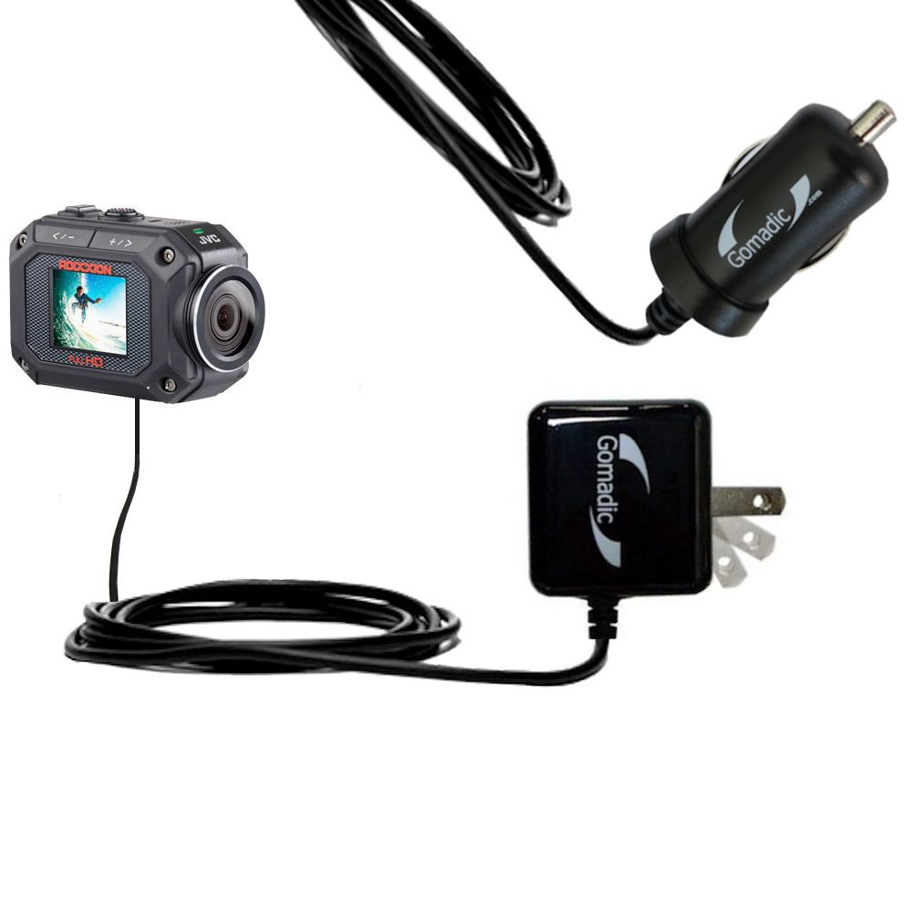 Car & Home Charger Kit compatible with the JVC GC-XA2 Action Camera
