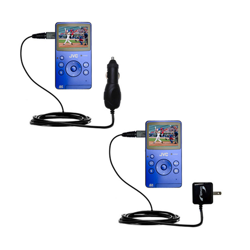 Car & Home Charger Kit compatible with the JVC Picsio GC-FM1 Pocket  Video Camera