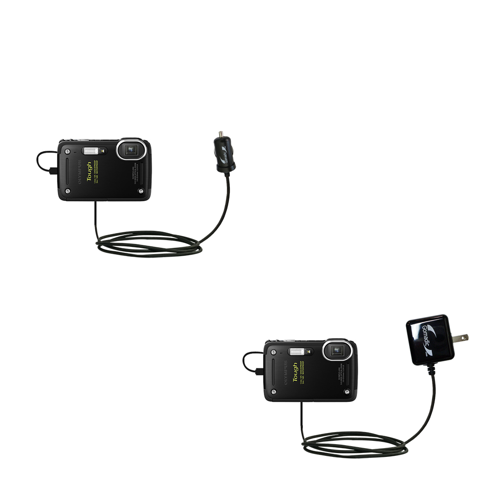 One Charger with Connections for Two Devices Using upgradeable TipExchange Gomadic Multi Port Mini DC Auto//Vehicle Charger Compatible with Olympus Tough TG-3