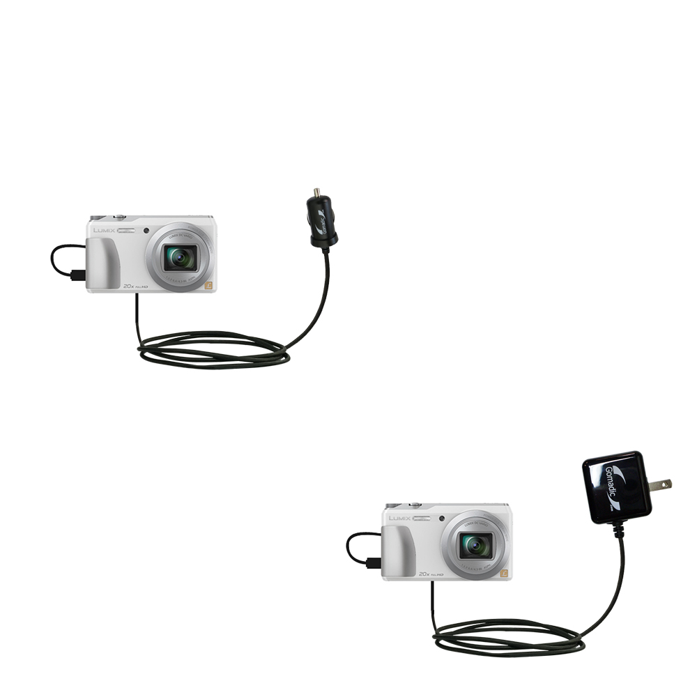 Car & Home Charger Kit compatible with the Panasonic Lumix DMC-ZS20W