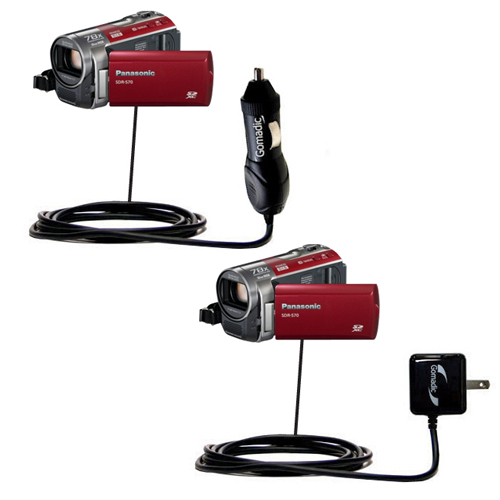 Car & Home Charger Kit compatible with the Panasonic SDR-570 Camcorder