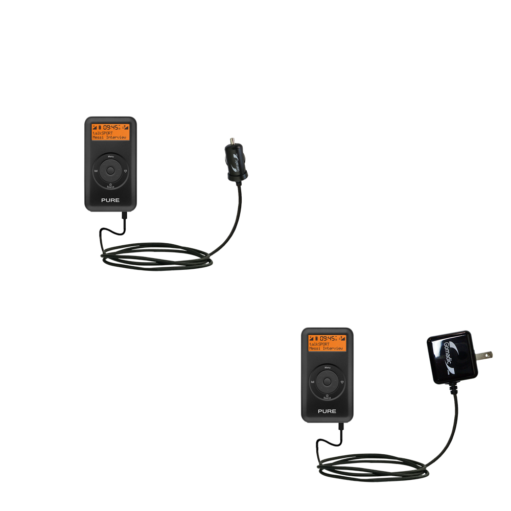 Gomadic Car and Wall Charger Essential Kit suitable for the PURE Move 2500 - Includes both AC Wall and DC Car Charging Options with TipExchange