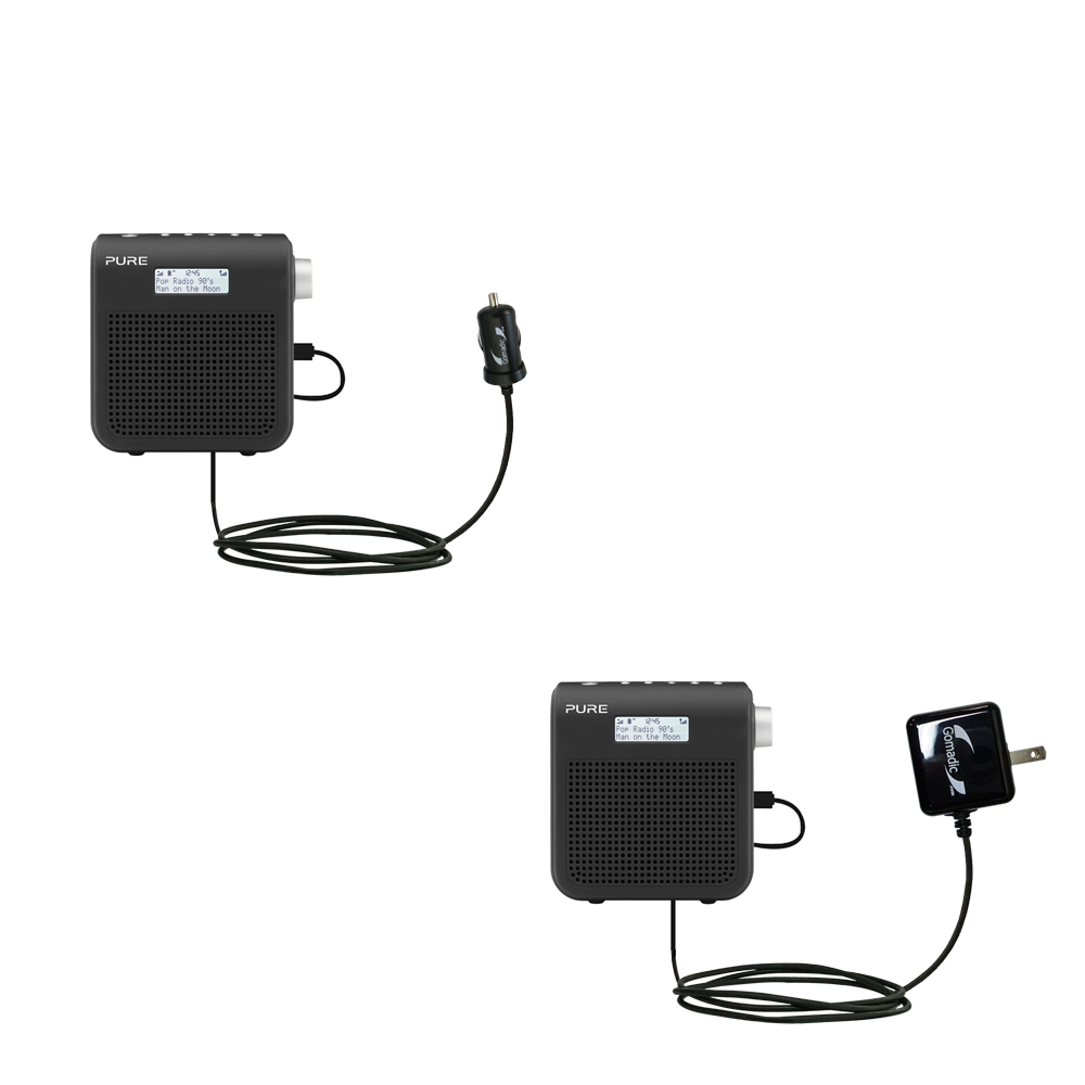 Gomadic Car and Wall Charger Essential Kit suitable for the PURE One Mini Series 2 - Includes both AC Wall and DC Car Charging Options with TipExchange