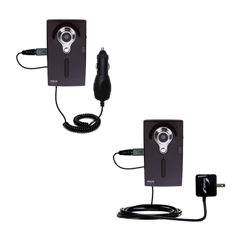 Car & Home Charger Kit compatible with the RCA EZ218HD Small Wonder Digital Camcorders