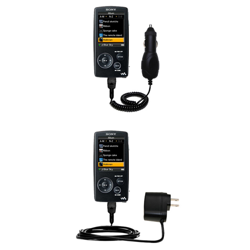 Car & Home Charger Kit compatible with the Sony Walkman NWZ-A805