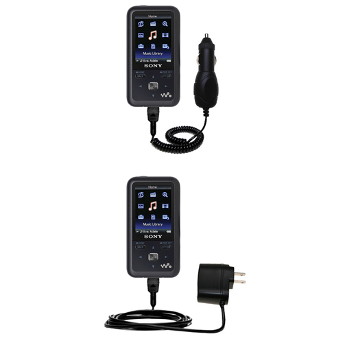 Car & Home Charger Kit compatible with the Sony Walkman NWZ-S616