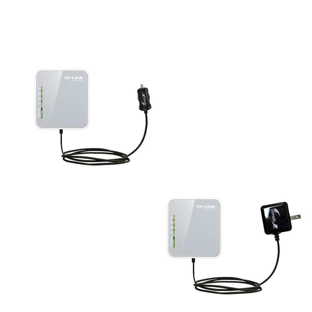 Gomadic Car and Wall Charger Essential Kit suitable for the TP-Link TL-MR3020 - Includes both AC Wall and DC Car Charging Options with TipExchange