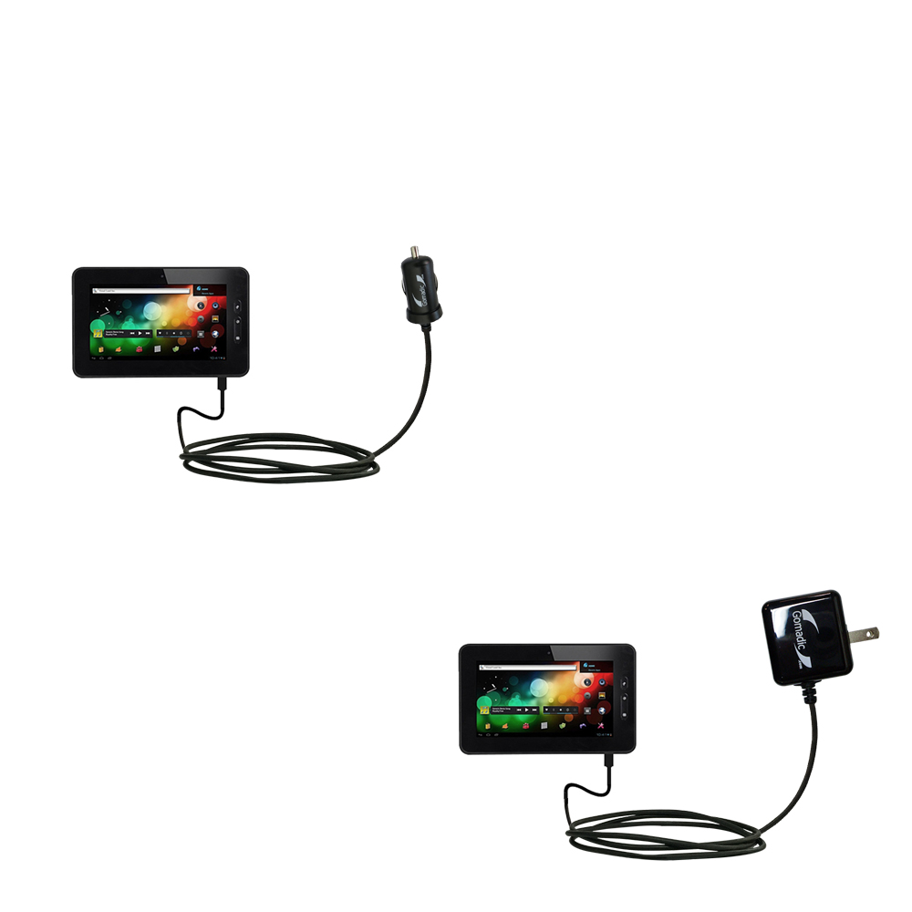 Car & Home Charger Kit compatible with the VisualLand Connect 7