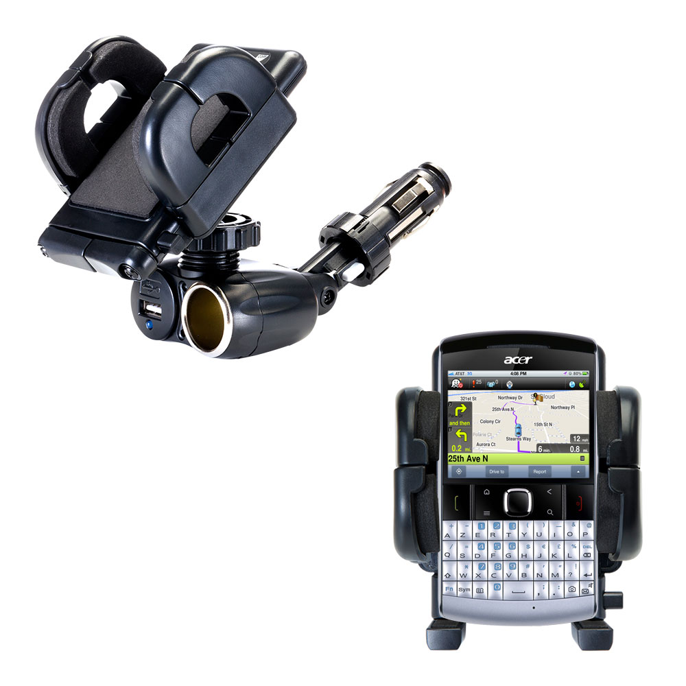 Cigarette Lighter Car Auto Holder Mount compatible with the Acer beTouch E200 E210