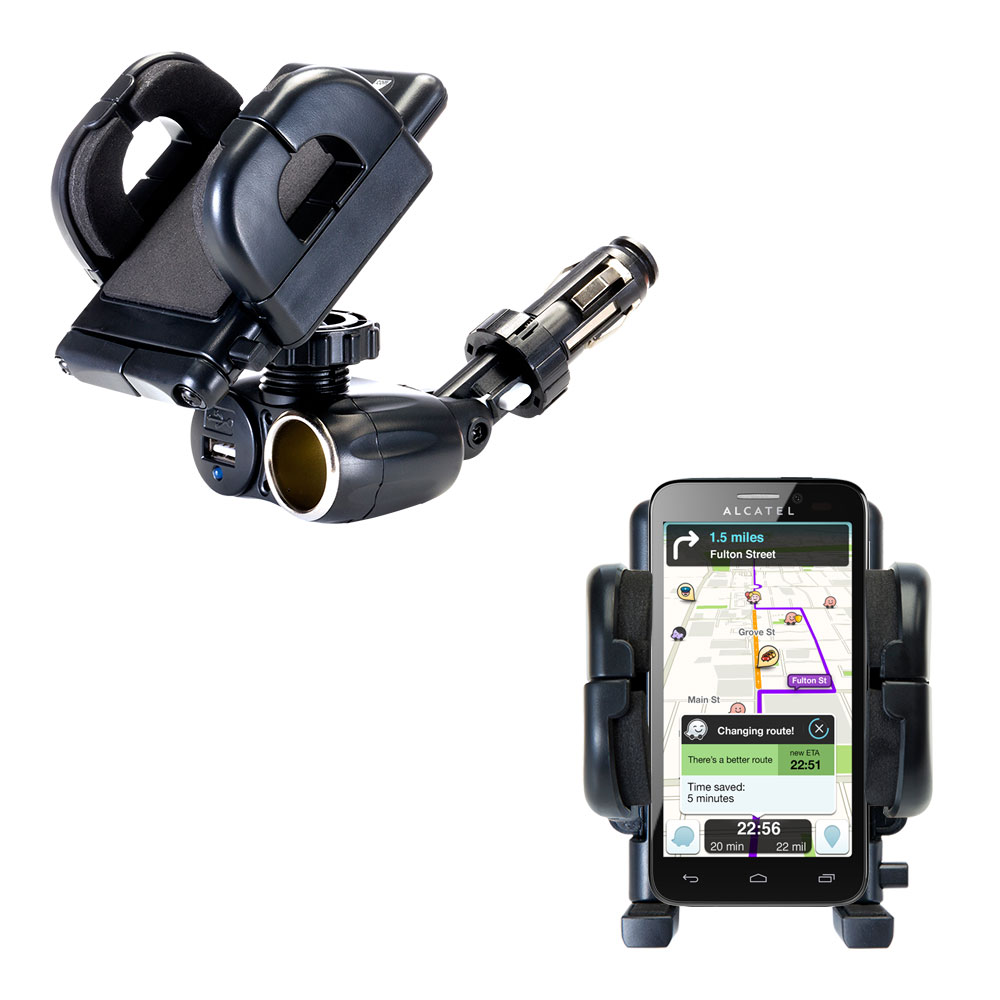 Cigarette Lighter Car Auto Holder Mount compatible with the Alcatel One Touch Fierce