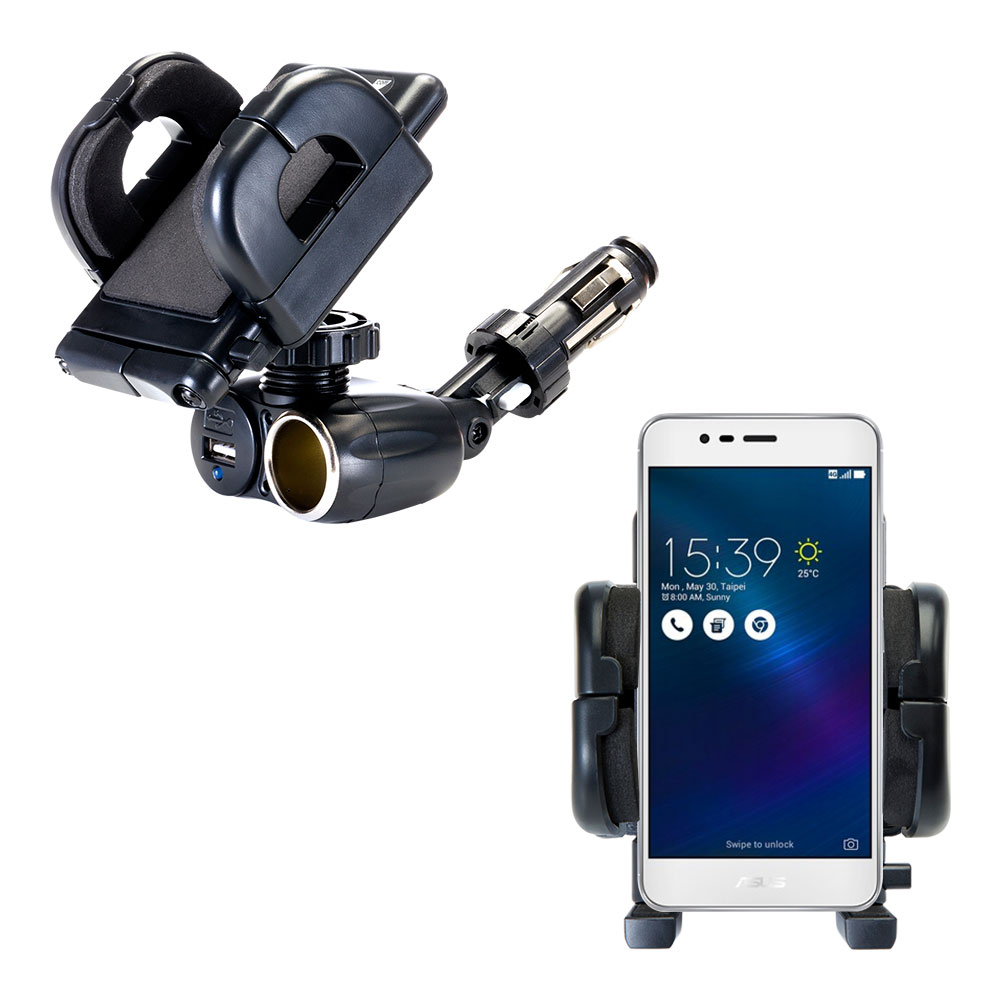 Cigarette Lighter Car Auto Holder Mount compatible with the Asus ZenFone 3 Max