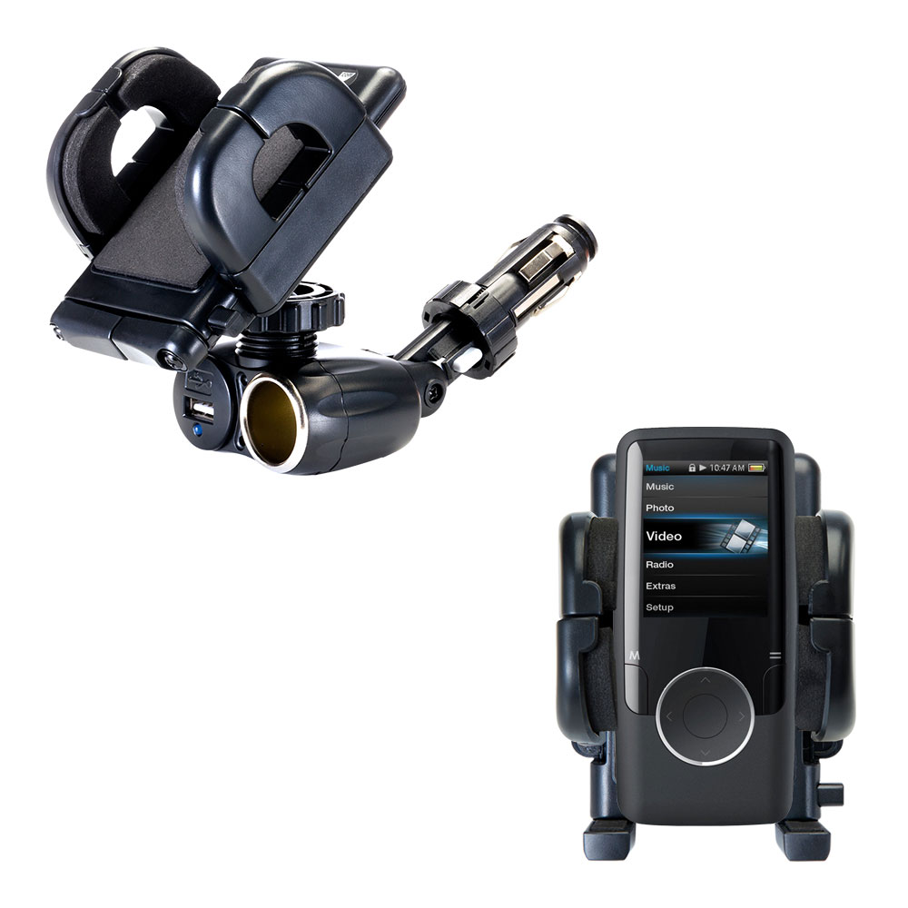 Cigarette Lighter Car Auto Holder Mount compatible with the Coby MP620 Video MP3 Player