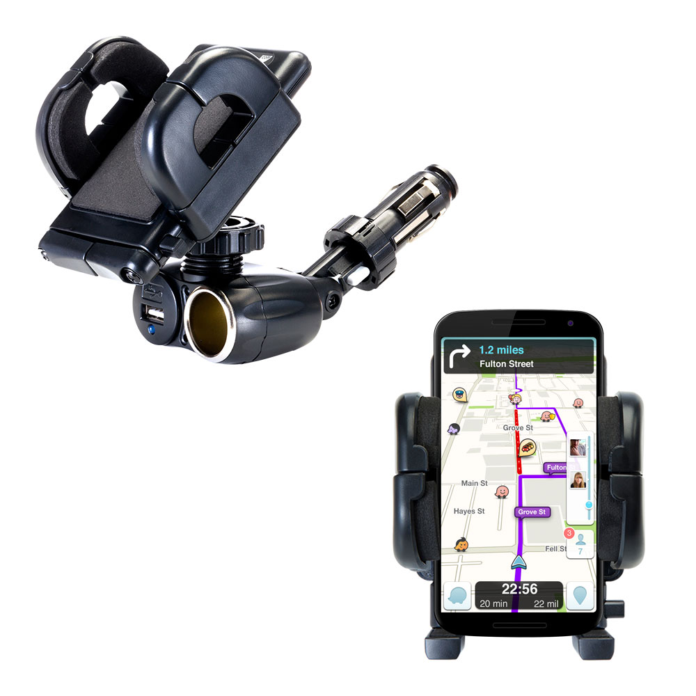 dual usb / 12v charger car cigarette lighter mount and holder for