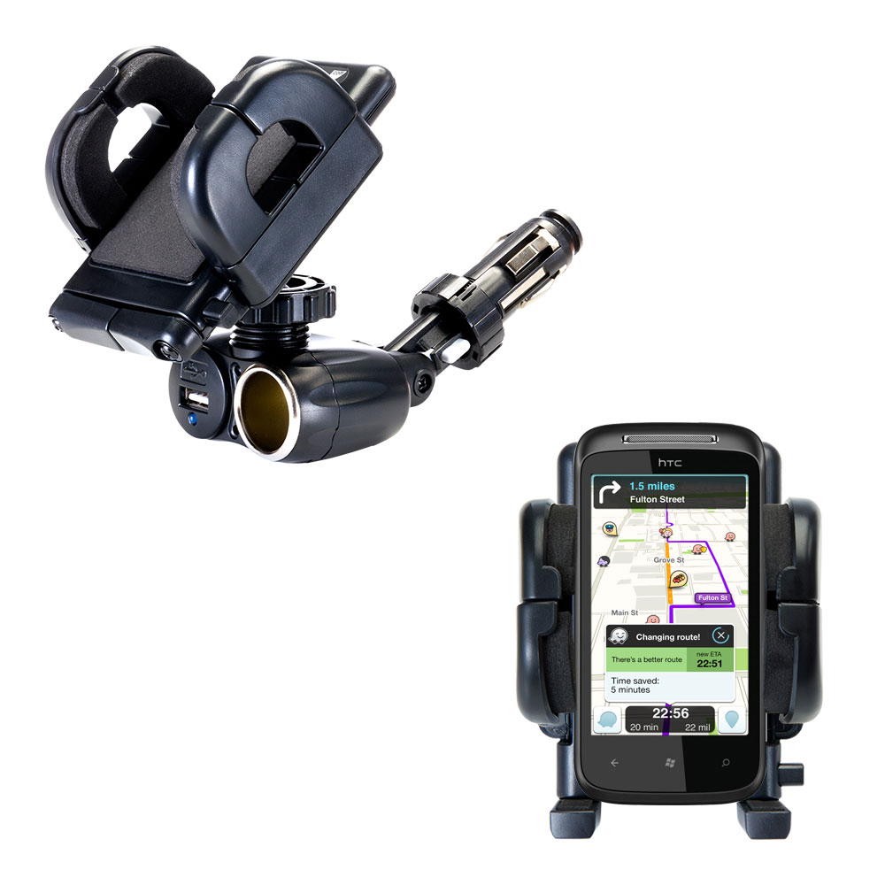 Cigarette Lighter Car Auto Holder Mount compatible with the HTC 7 Mozart