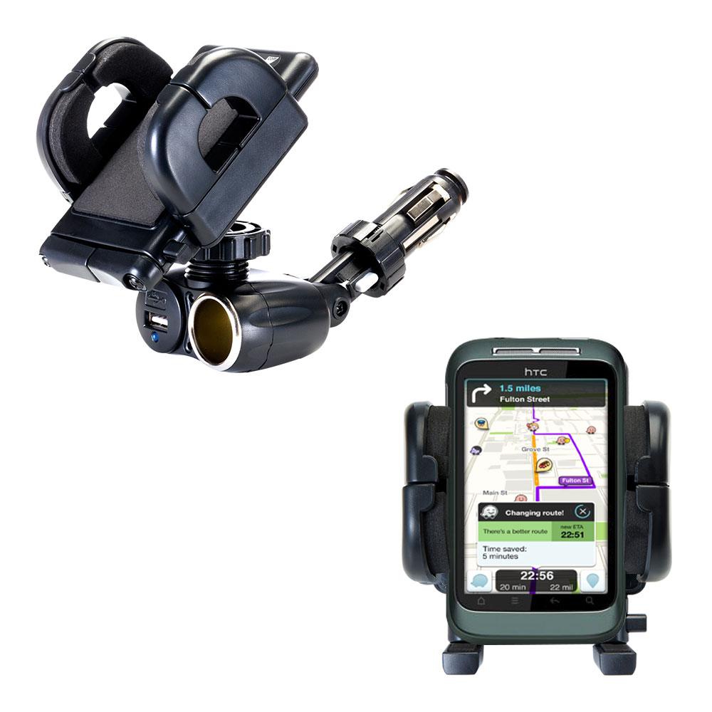 Cigarette Lighter Car Auto Holder Mount compatible with the HTC Bliss