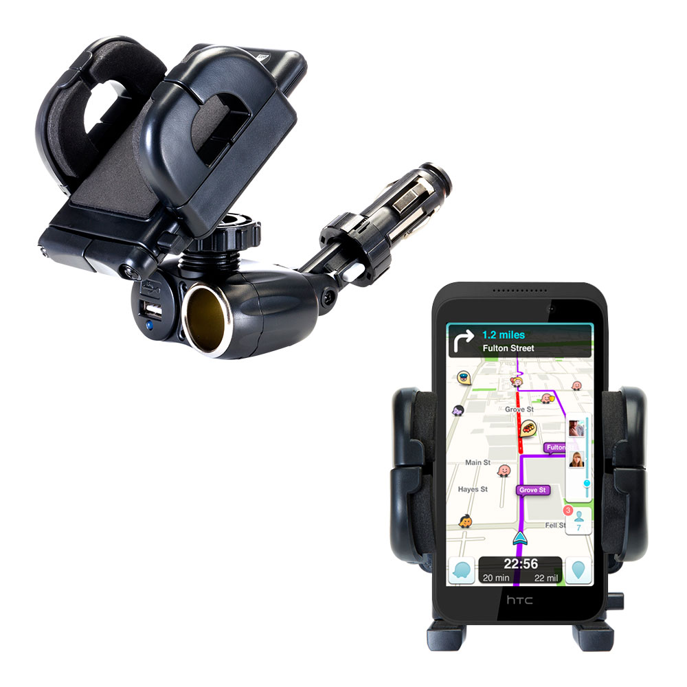 Cigarette Lighter Car Auto Holder Mount compatible with the HTC Desire 320