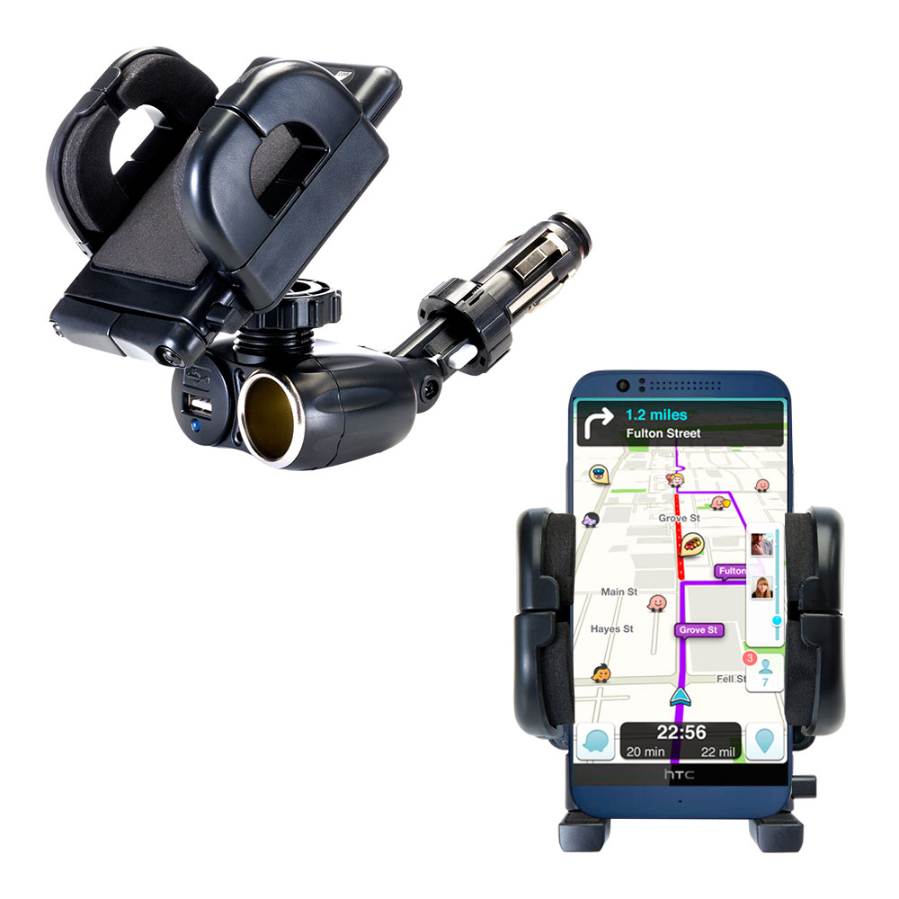 Cigarette Lighter Car Auto Holder Mount compatible with the HTC Desire 510