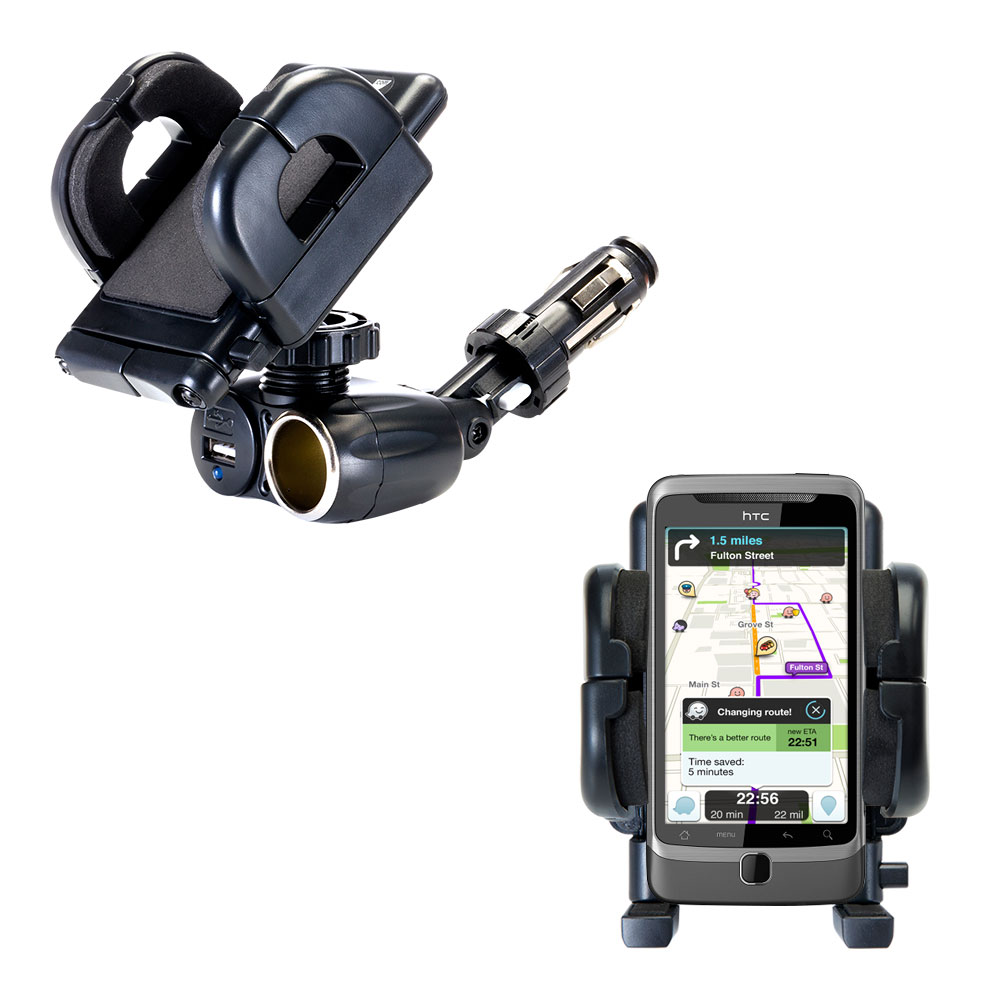 Cigarette Lighter Car Auto Holder Mount compatible with the HTC Desire Z