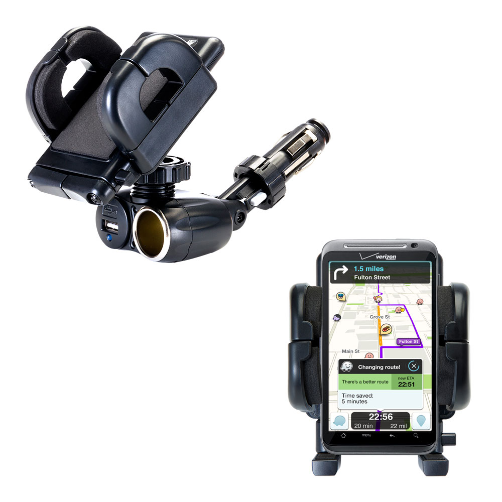 Cigarette Lighter Car Auto Holder Mount compatible with the HTC Droid Thunderbolt