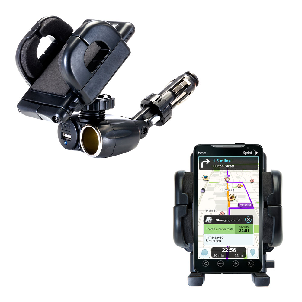 Cigarette Lighter Car Auto Holder Mount compatible with the HTC EVO 4G