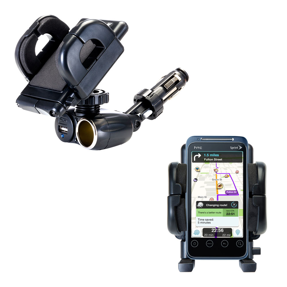 Cigarette Lighter Car Auto Holder Mount compatible with the HTC Evo Shift 4G