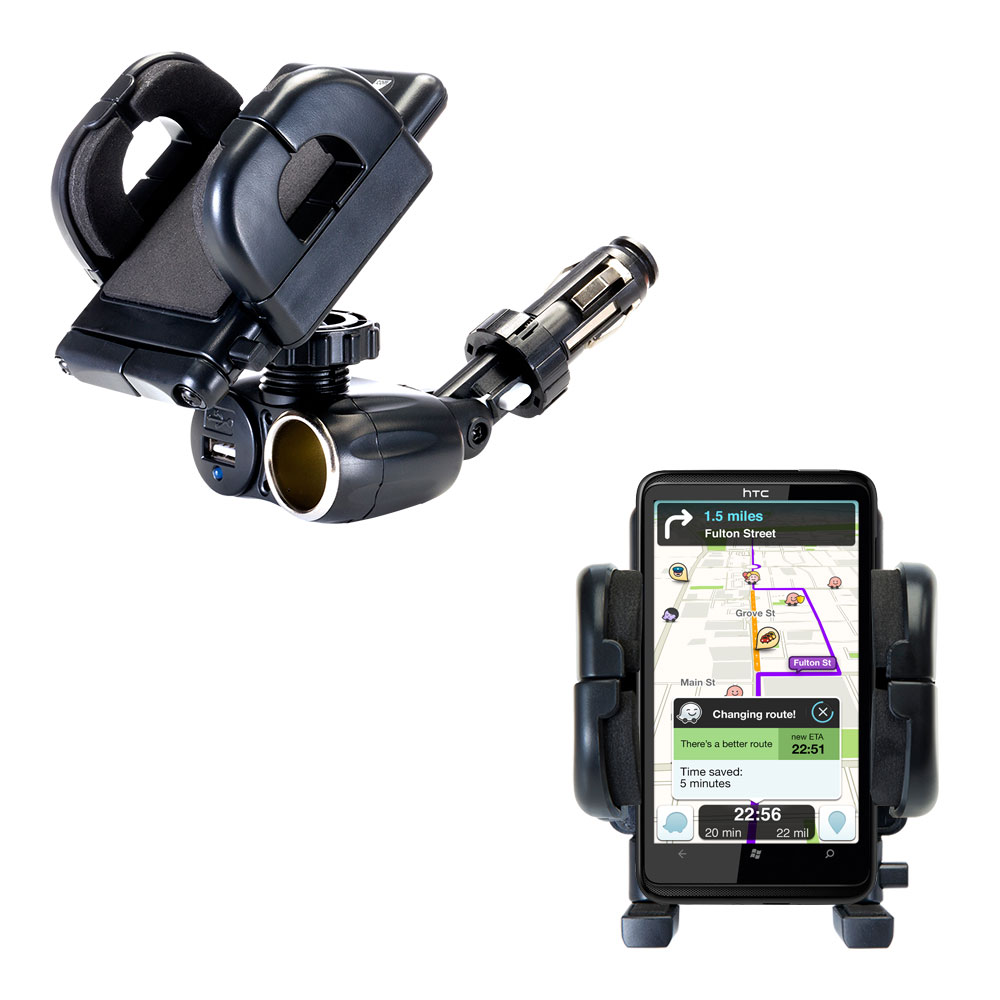 Cigarette Lighter Car Auto Holder Mount compatible with the HTC HD7S