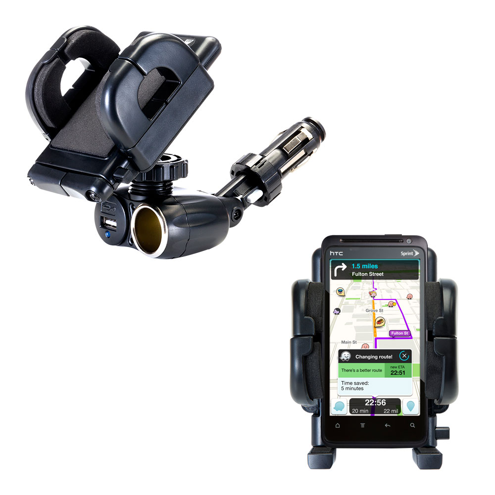 Cigarette Lighter Car Auto Holder Mount compatible with the HTC Hero 4G