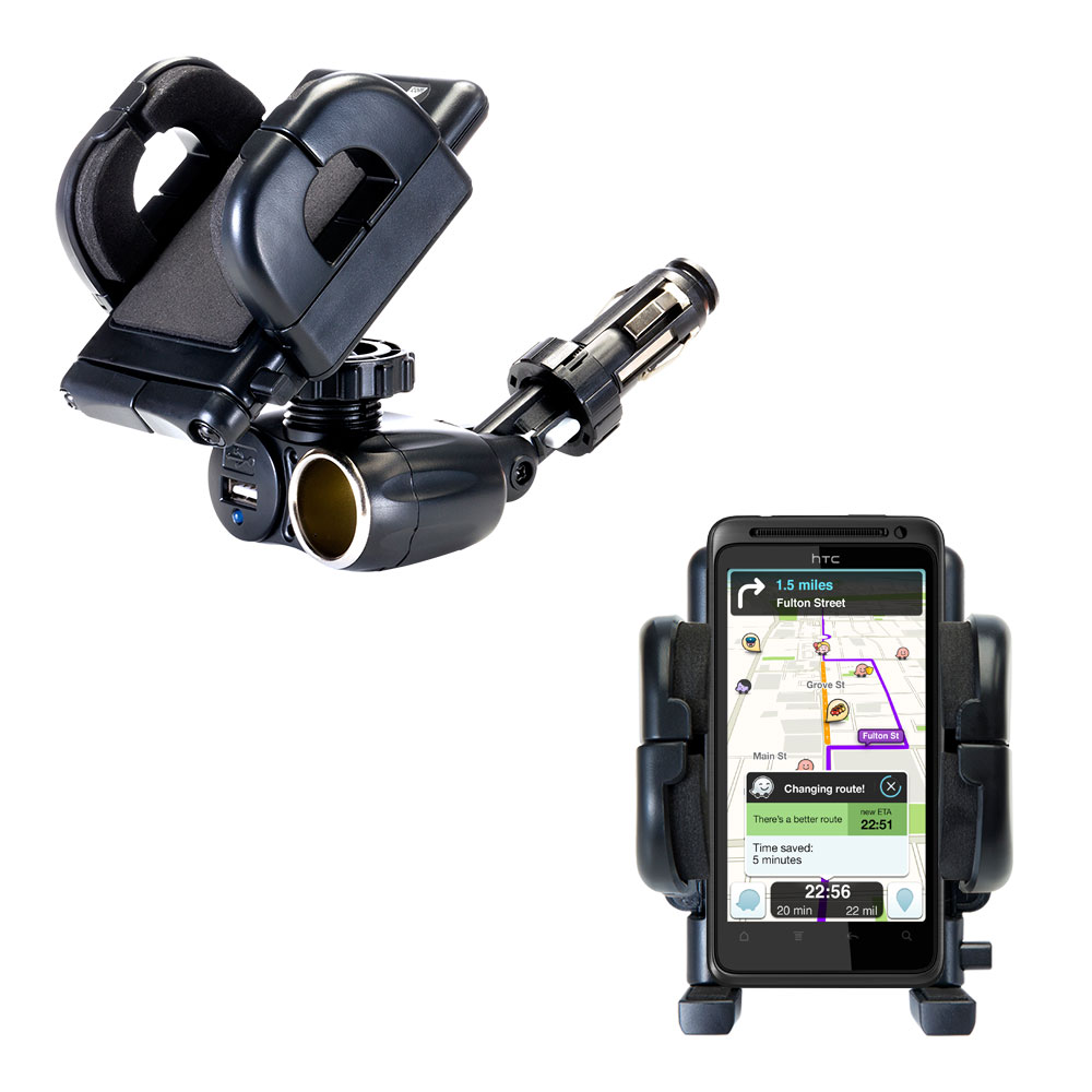 Cigarette Lighter Car Auto Holder Mount compatible with the HTC Hero S
