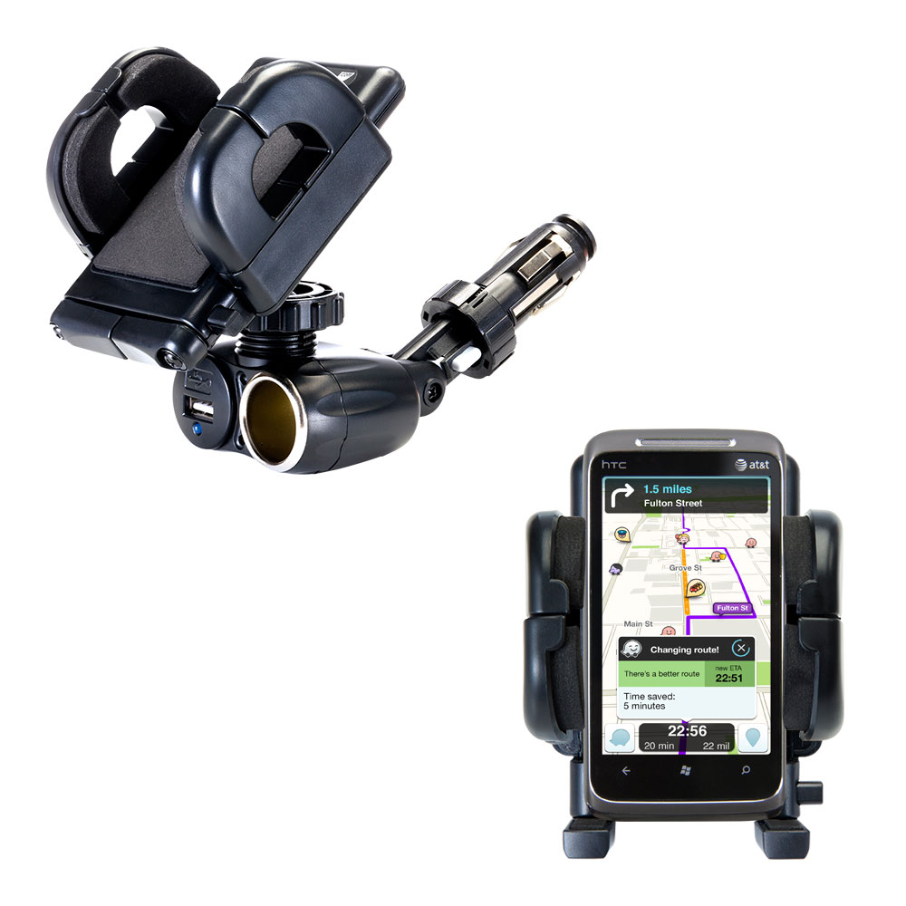 Cigarette Lighter Car Auto Holder Mount compatible with the HTC HTC 7 Surround