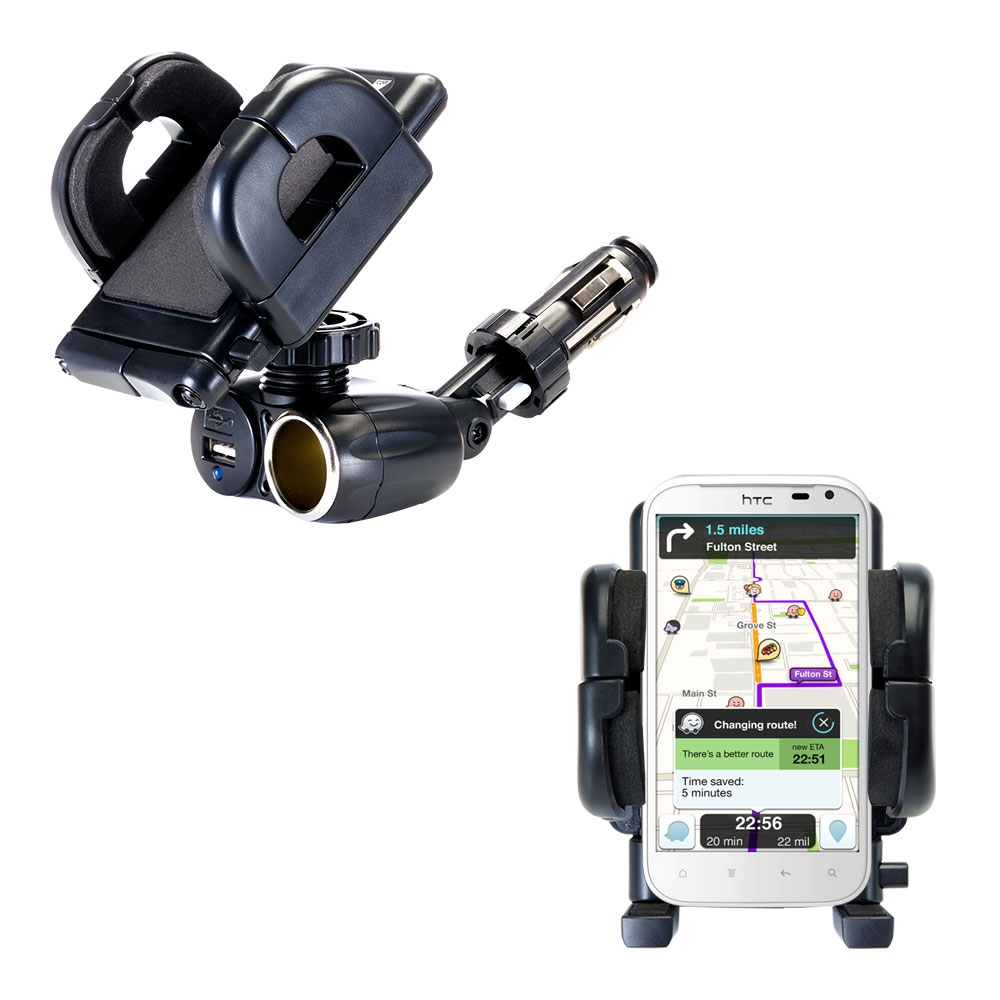 Cigarette Lighter Car Auto Holder Mount compatible with the HTC Runnymede