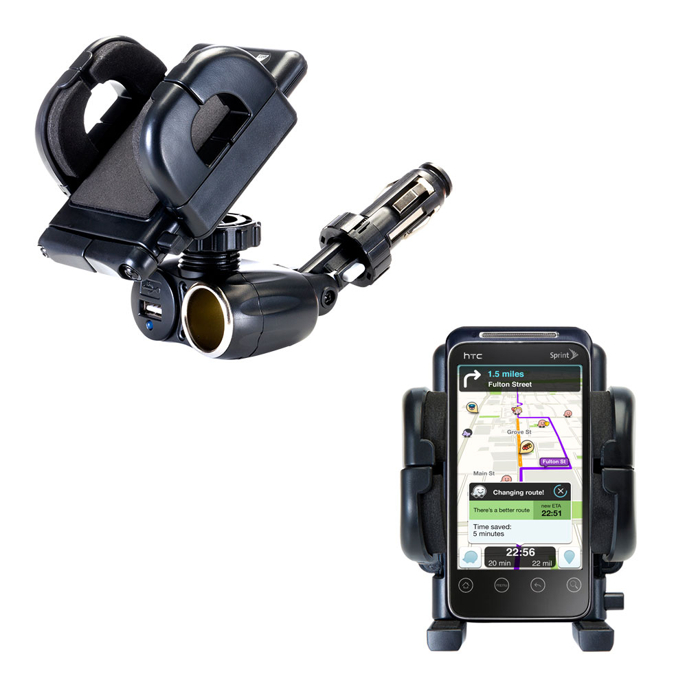 Cigarette Lighter Car Auto Holder Mount compatible with the HTC Supersonic