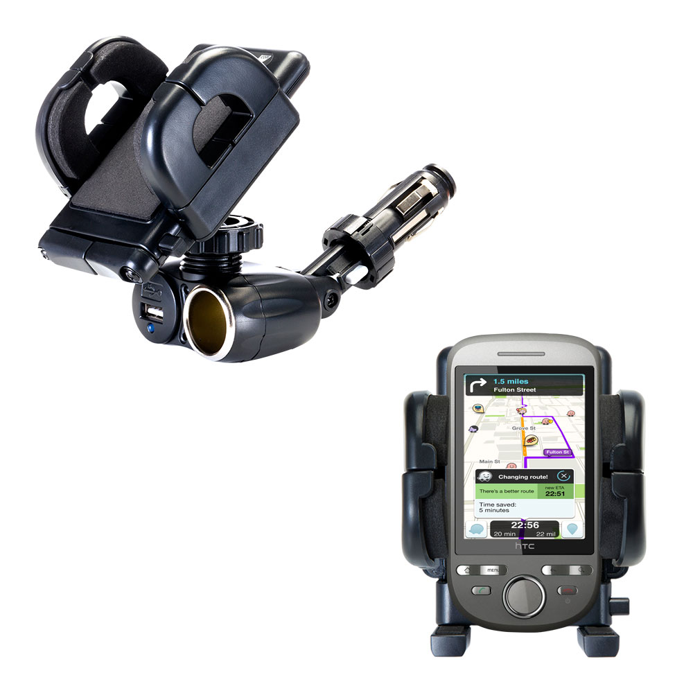 Cigarette Lighter Car Auto Holder Mount compatible with the HTC Tattoo