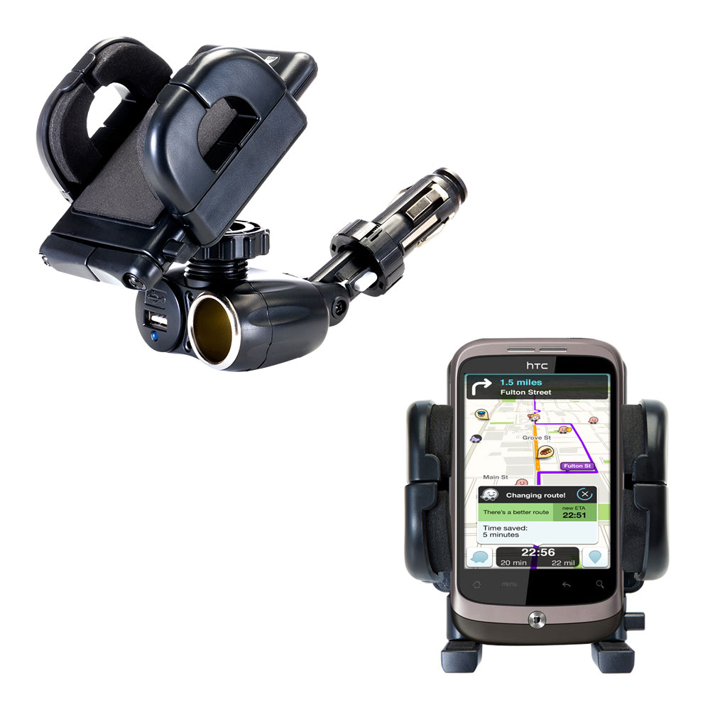 Cigarette Lighter Car Auto Holder Mount compatible with the HTC Wildfire