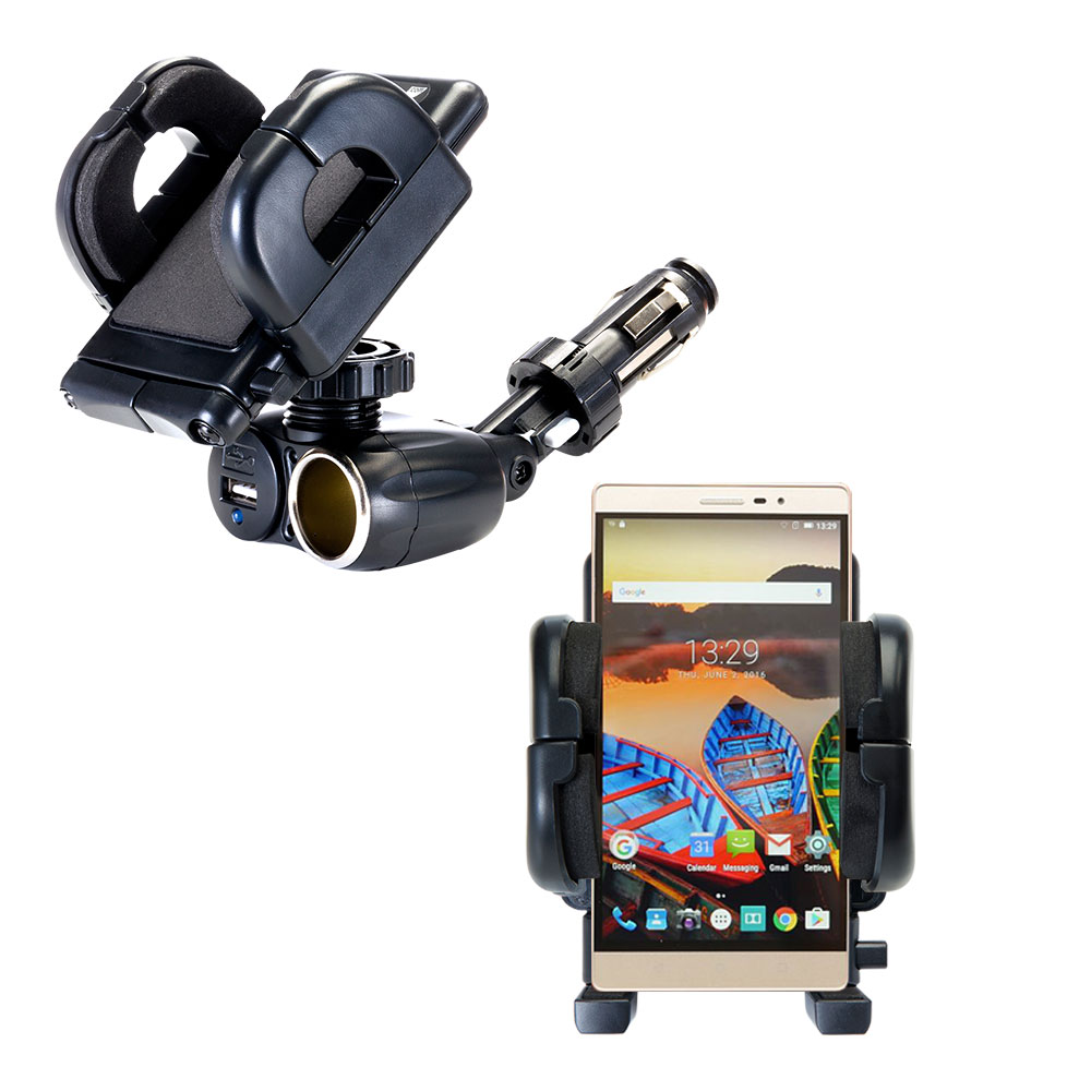 Cigarette Lighter Car Auto Holder Mount compatible with the Lenovo PHAB 2 Pro