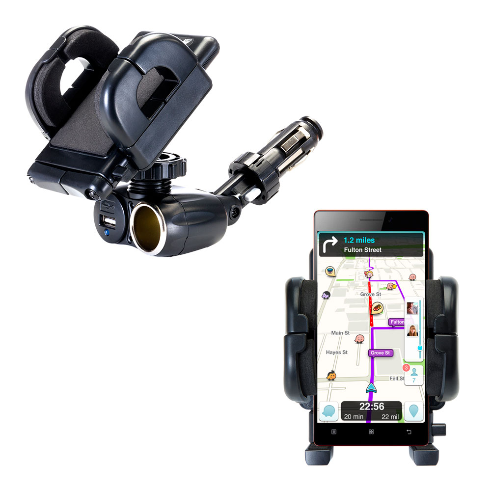 Cigarette Lighter Car Auto Holder Mount compatible with the Lenovo VIBE X2