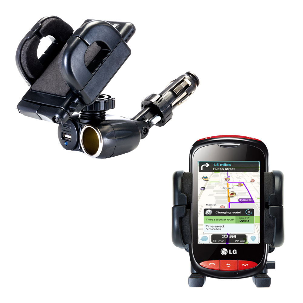 Cigarette Lighter Car Auto Holder Mount compatible with the LG Cookie Style