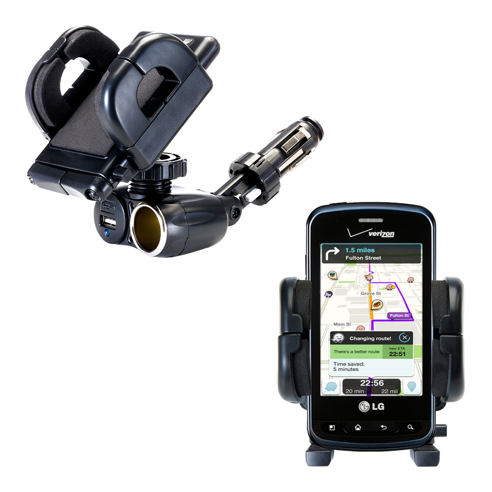 Cigarette Lighter Car Auto Holder Mount compatible with the LG Enlighten