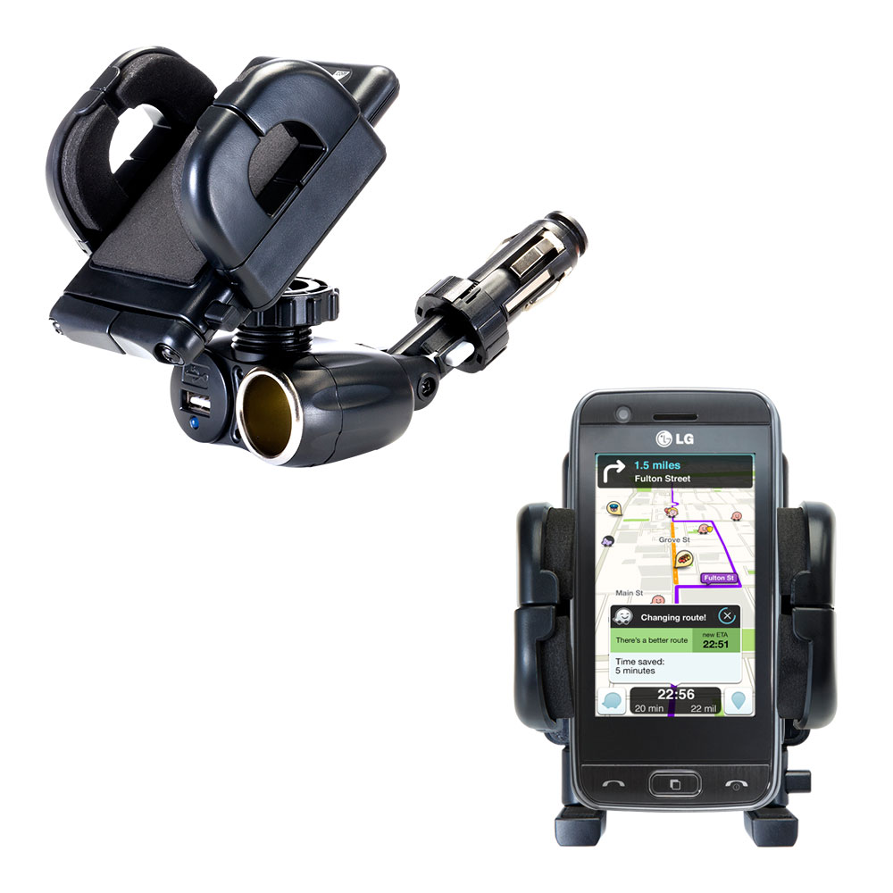 Cigarette Lighter Car Auto Holder Mount compatible with the LG GT505