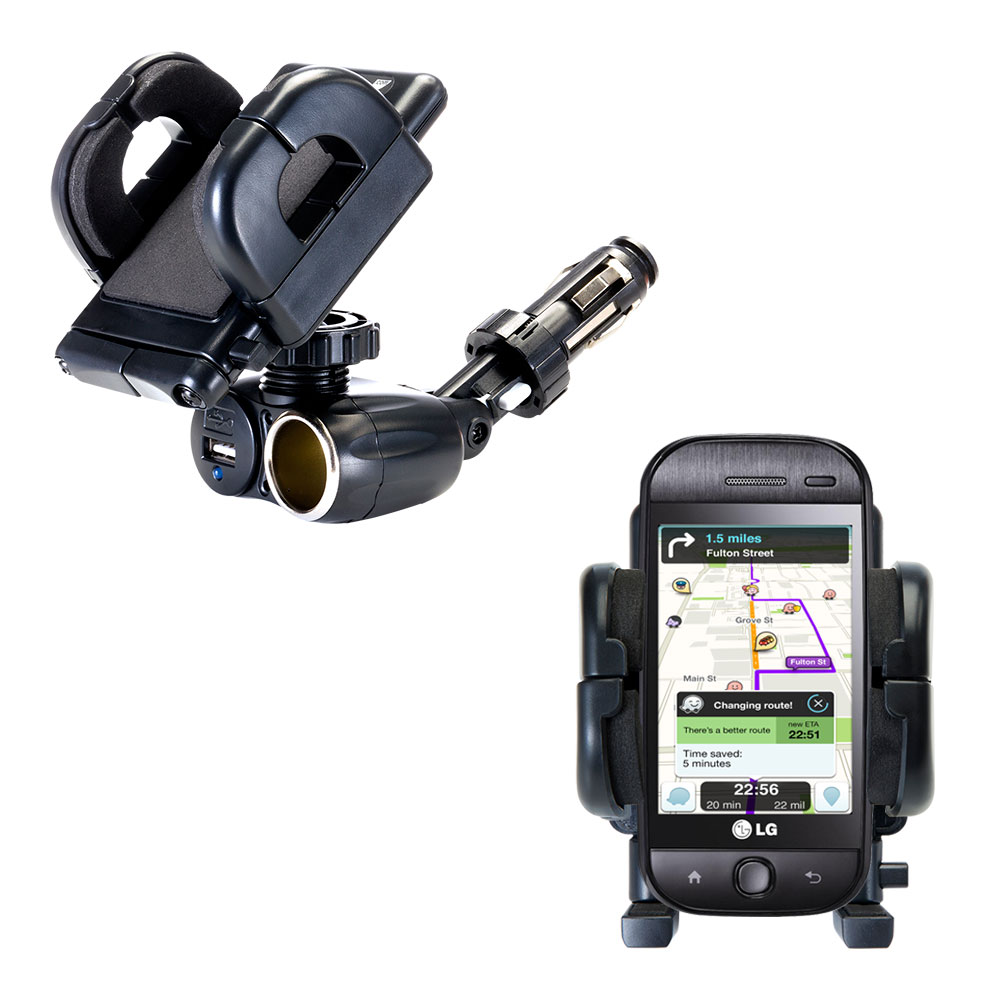 Cigarette Lighter Car Auto Holder Mount compatible with the LG InTouch Max