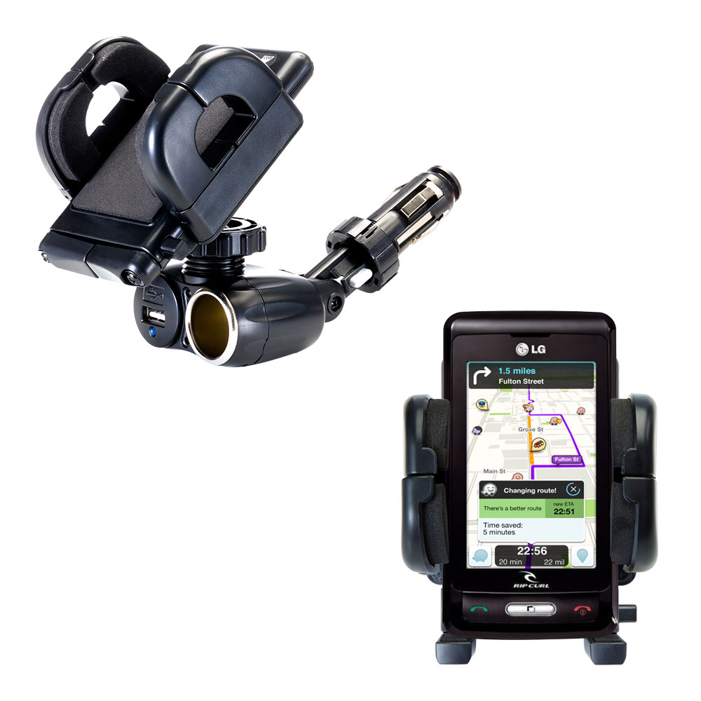 Cigarette Lighter Car Auto Holder Mount compatible with the LG KP550 Rip Curl