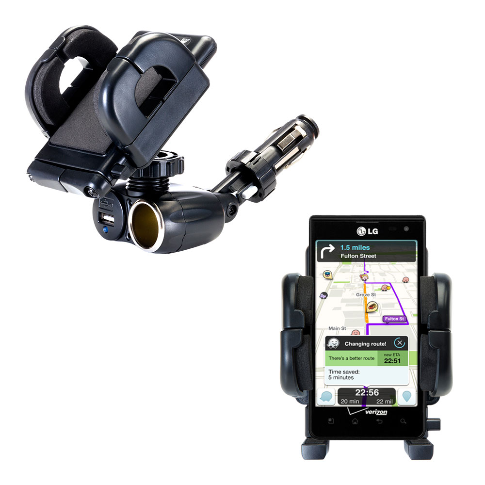 Cigarette Lighter Car Auto Holder Mount compatible with the LG Lucid 1 / 2 / 3