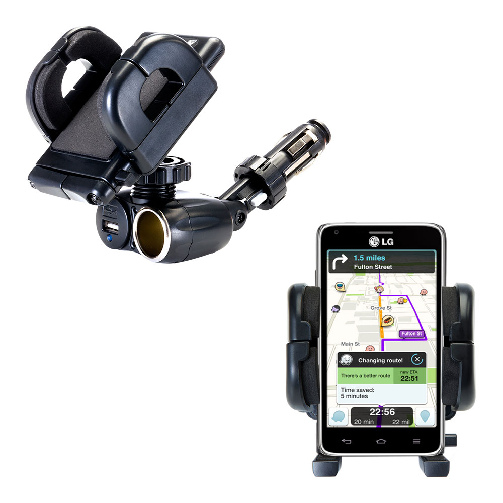 Cigarette Lighter Car Auto Holder Mount compatible with the LG Mach