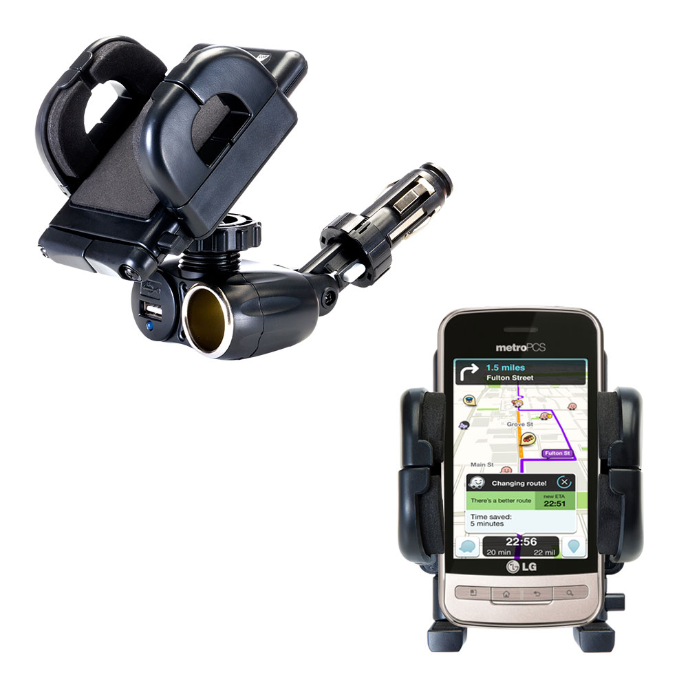 Cigarette Lighter Car Auto Holder Mount compatible with the LG MS690
