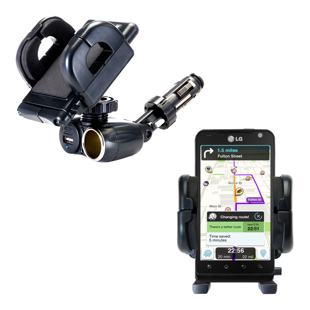 Cigarette Lighter Car Auto Holder Mount compatible with the LG MS910