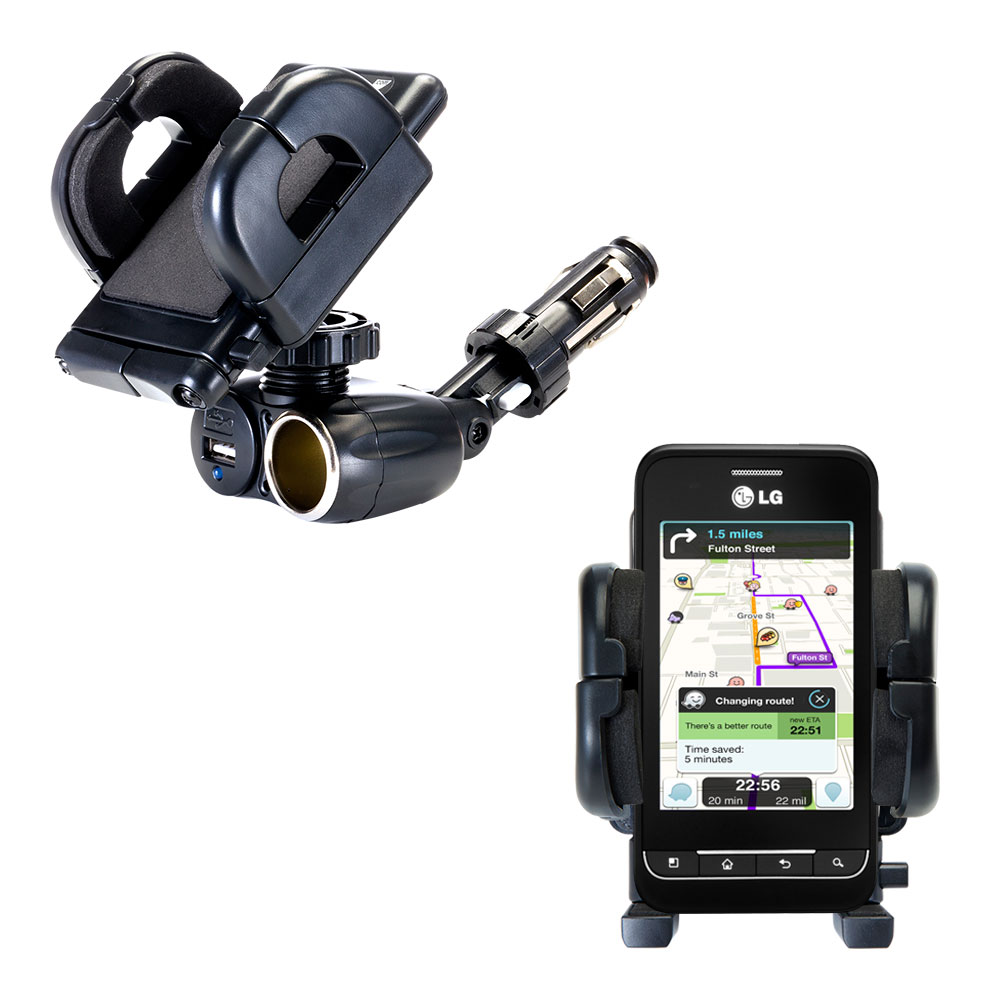 Cigarette Lighter Car Auto Holder Mount compatible with the LG Optimus 2