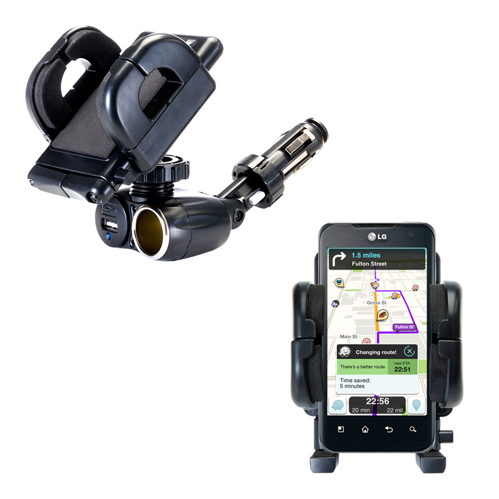 Cigarette Lighter Car Auto Holder Mount compatible with the LG Optimus 2X